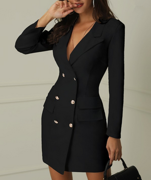 Long Sleeved V-Neck Double-Breasted Dress