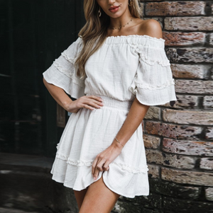 Solid Color One-Shoulder Ruffled Dress
