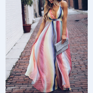 Colorful Striped Long Summer Dresses