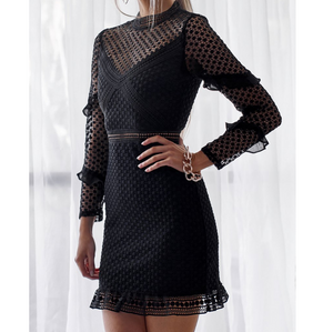 Lace Long Sleeve Bag Hip Dress