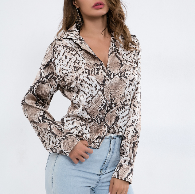 Sexy Leopard Print Long-Sleeve Button V-Neck Cardigan T-Shirt