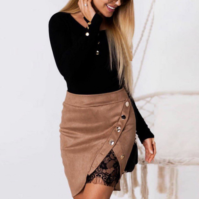 Solid Color Lace Package Hip Skirts