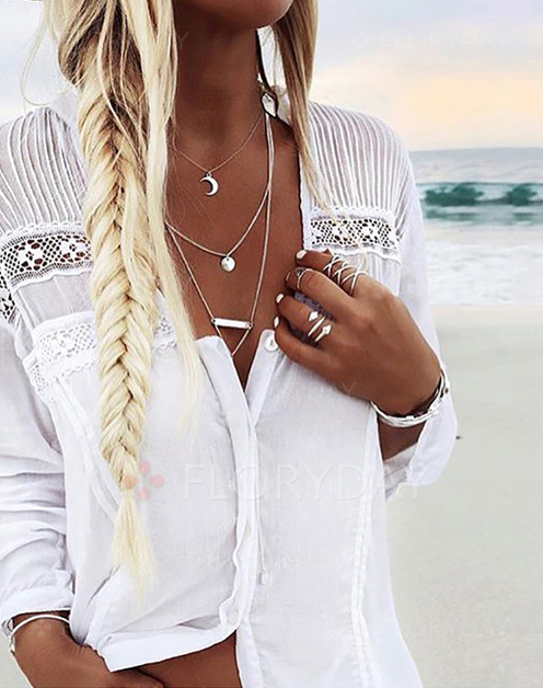 Solid Color Lace Long Sleeves White Tops