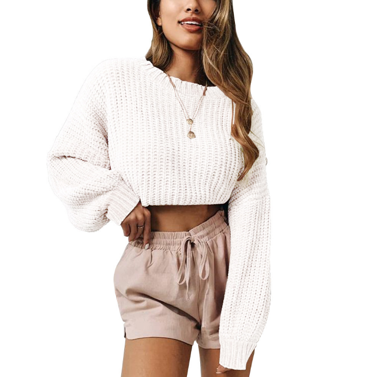 Solid Color Round Neck Loose Long Sleeve Sweater