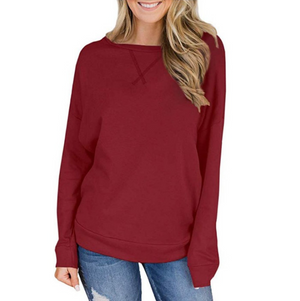 Casual Round Neck Long Sleeve Solid Color T-Shirt