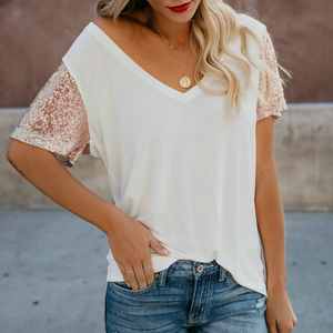 V-Neck Sexy Sequin Short-Sleeved Top