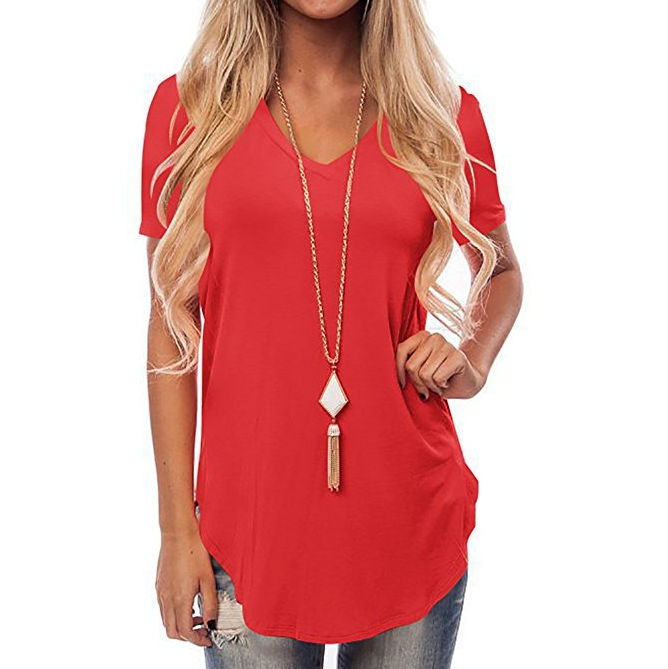 Fashion Sexy V-Neck Short-Sleeved T-Shirt