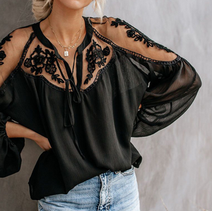 Sexy V-Neck Lace Shirt