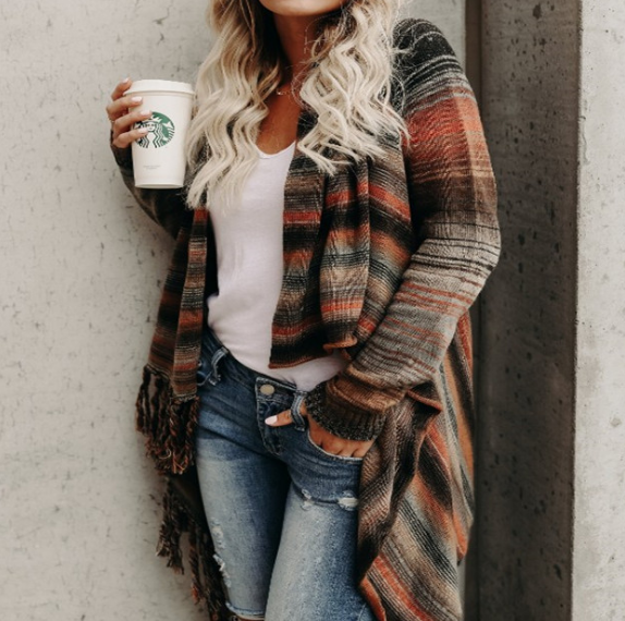 Long Sleeve Knit Cardigan Striped Sweater Coat