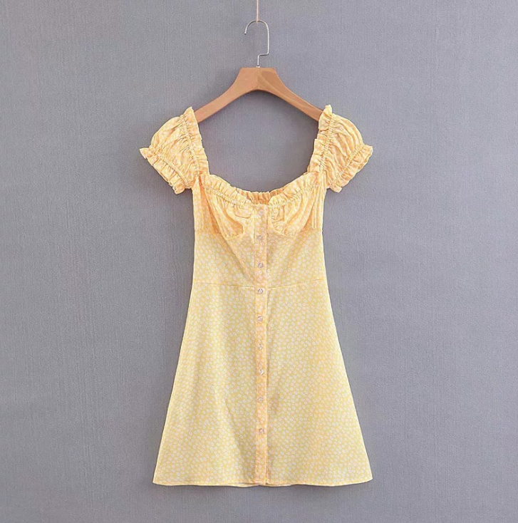 Women'S Printed Short-Sleeved Yellow Dress