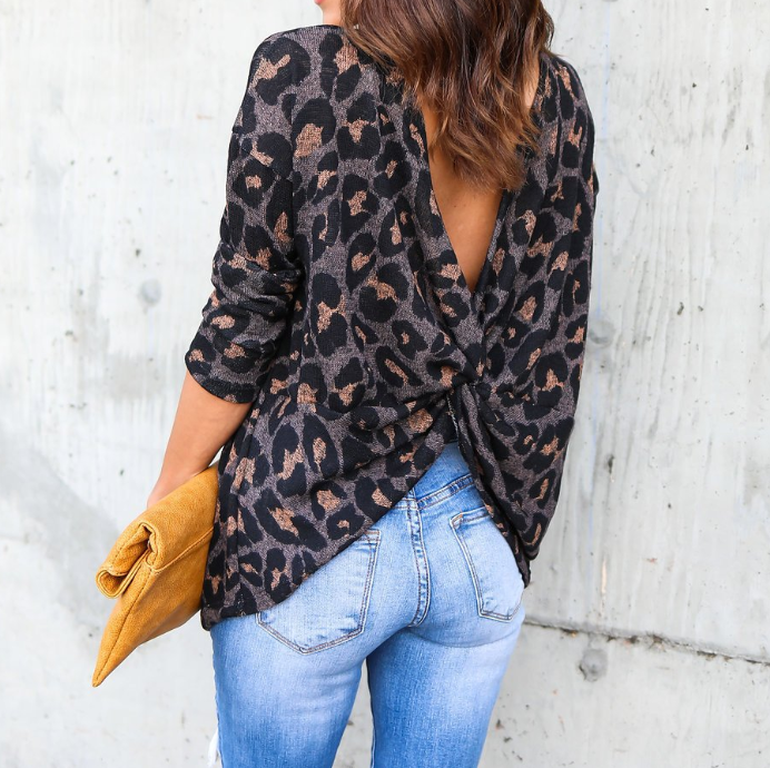 Halter Long Sleeve Leopard T-Shirt