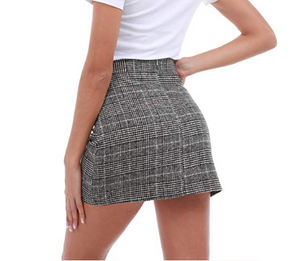 Slim High Waist Plaid Hips Skirts