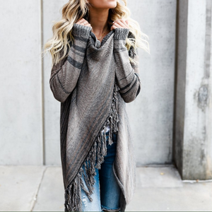 Long Sleeve Striped Cardigan Sweater Coat