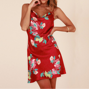 Women'S Printed Sling Sleeveless Backless Dress