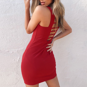 Solid Color Backless Sexy Sleeveless Dress