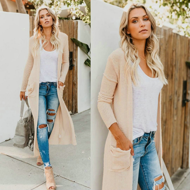 Sexy V-neck Solid Color Long Sleeve Jacket