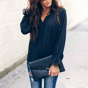 V-Neck Long-Sleeved Chiffon Top