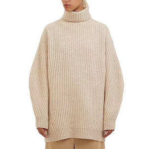 Loose Women'S High Collar Knit Sweater