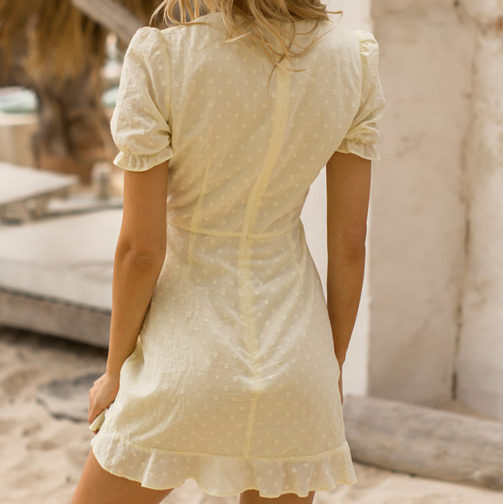Sweet V-Neck Short-Sleeved Mini Dress