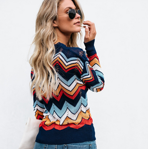 Round Neck Long Sleeve Striped Sweater