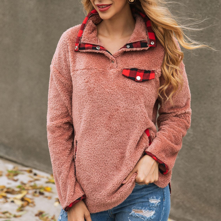 Loose Long Sleeve Plaid Pocket Button Sweater