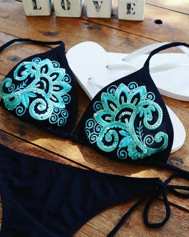 Solid Color Sexy Embroidered Swimsuit