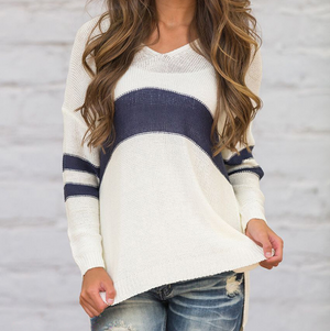 Long-Sleeved Knit V-Neck Striped Sweater
