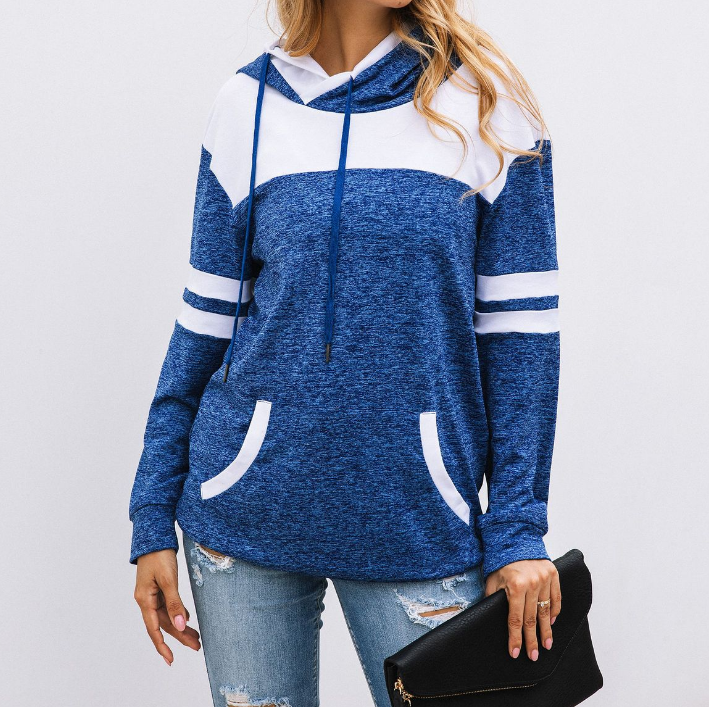 Design Stitching Pocket Hooded Sweater