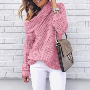 Solid Color Long Sleeve Off-The-Shoulder Knit Sweater