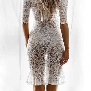 Round Neck Sexy White Lace Bag Hip Dress