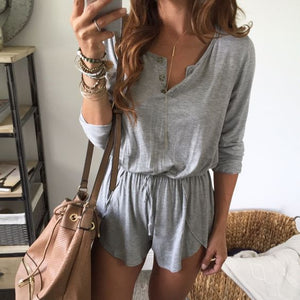 Fashion Round Neck Button Long Sleeve Jumpsuit