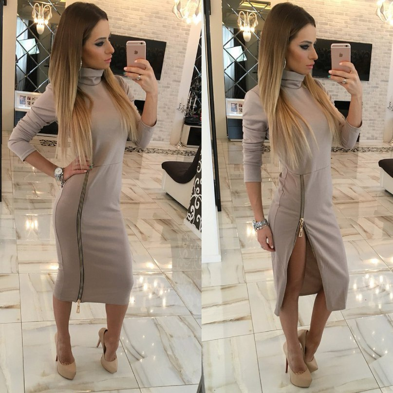 Women'S High Collar Slim Dress