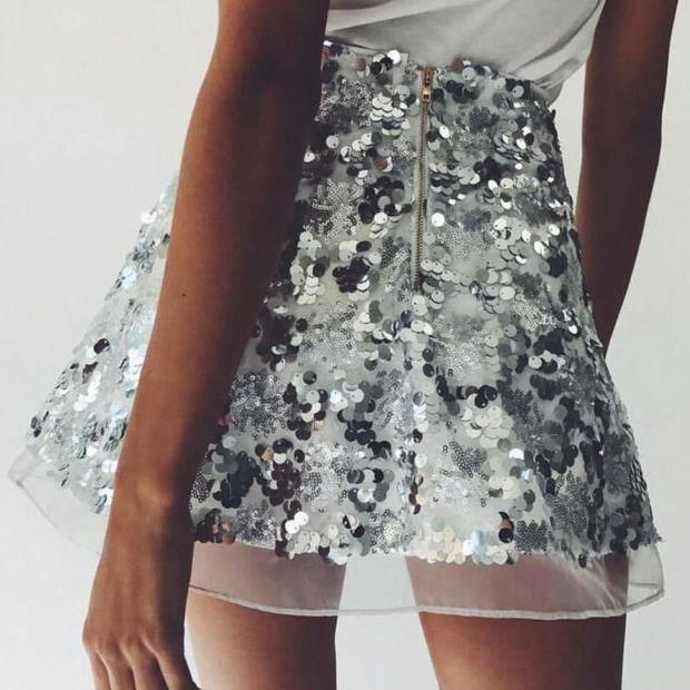 Sequin Gauze Zipper Fashion Skirt
