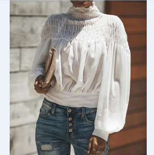 Loose Long-Sleeved High-Necked T-Shirt