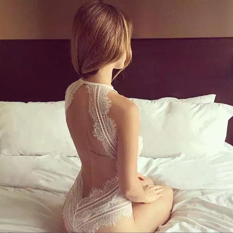 Sexy White Backless Lace One Piece Underwear