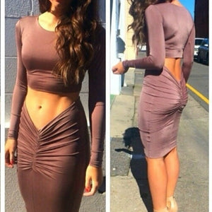 Women'S Slim Sexy Two-Piece Long-Sleeved Dress