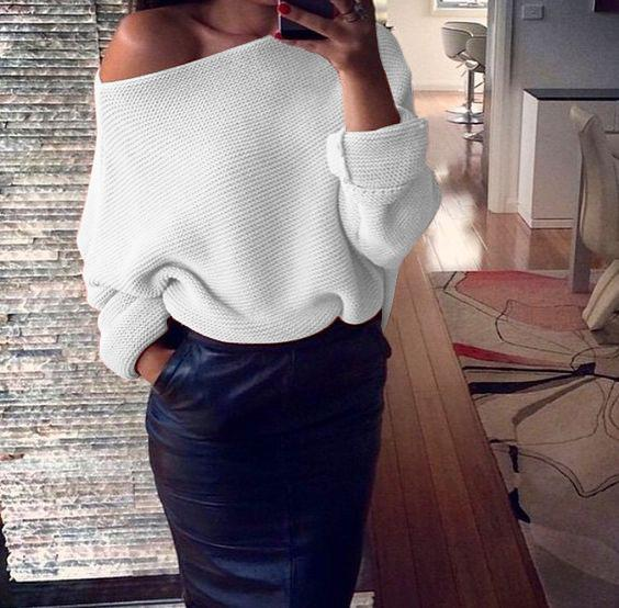 Women Sexy Strapless Solid Color Long-Sleeved Sweater
