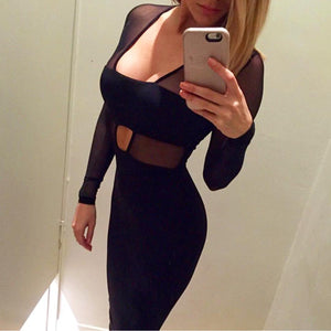 Solid Color Sexy Black Long Sleeve Dress