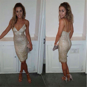 Fashion Sexy V-Neck Sequins Pack Hip Dress