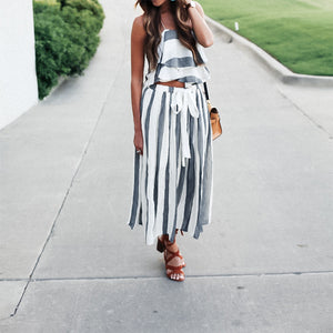 Sexy Two-Piece Striped Dress
