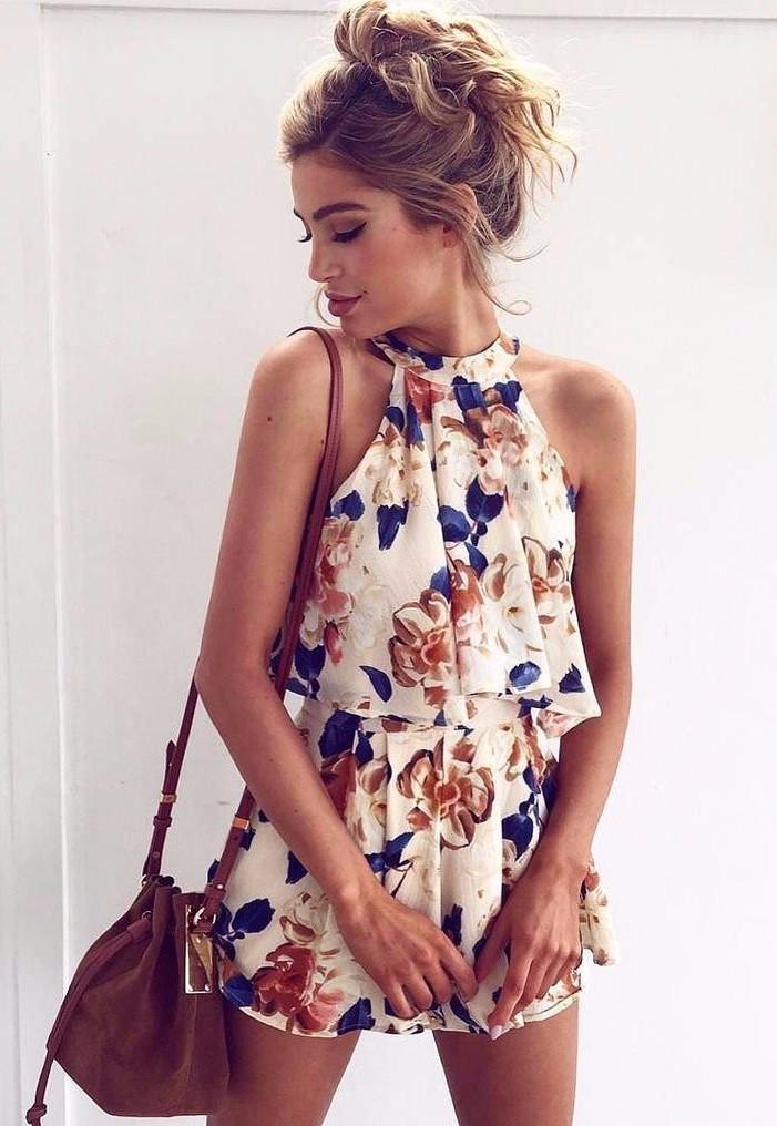 Sexy Sleeveless Printed Chiffon Two-Piece
