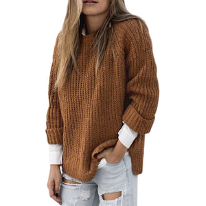 Loose Large Size Round Neck Knit Long Sleeve Sweater