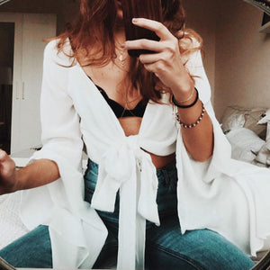 V-Neck White Long-Sleeved Chiffon Top