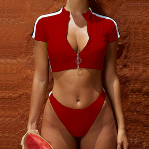 Sexy Zipper Short-Sleeved Split Two-Piece Swimsuit Bikini