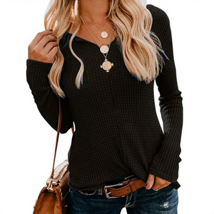 Knitted V-neck Solid Color Long Sleeve Sweater