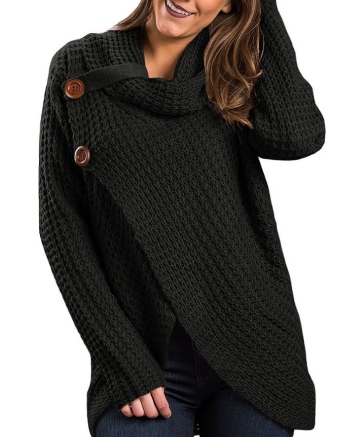 Solid Color Knitting High-Necked Long Sleeve Large Size Cardigan Sweater