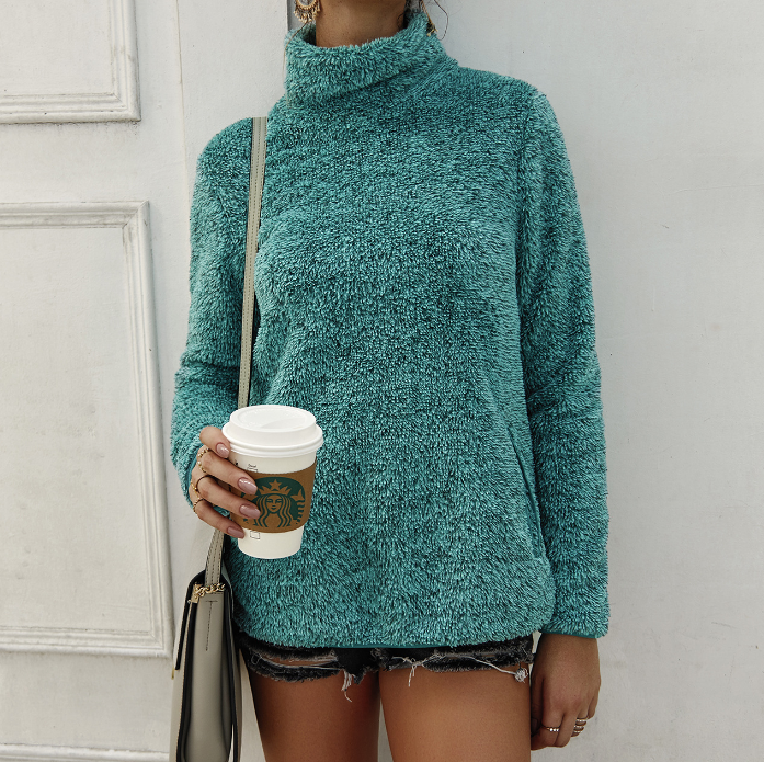 Solid Color Long Sleeve High Neck Knit Sweater
