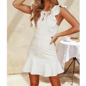 White Ruffled Open Back Dress