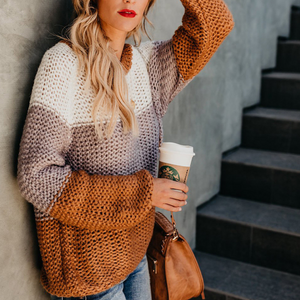 Round Neck Fashion Color Matching Knit Sweater