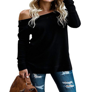 Sexy Women's Off Shoulder Long Sleeve Knit Sweater